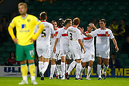 Sam Baldock of MK Dons celebrates scoring his sides 2nd goal during the Carling Cup 2nd Round match at Carrow Road Stadium, Norwich, Norfolk...Picture by Paul Chesterton/Focus Images Ltd.  07904 640267.23/8/11