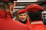 Manhattan, N.Y. October 31, 2013. Curtis Sliwa directs the Guardian Angel patrol to exit the train. 10/31/2013. Photo by Paul McCaffrey/NYCity Photo Wire