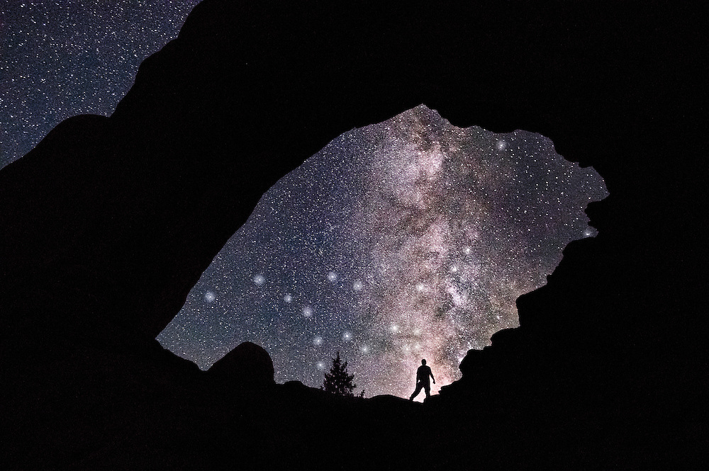 Milky Way, north window at Arches National Park, Utah.
