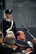 Silvio Berlusconi, Forza Italia (political party) President, charged with bribes to Guardia di Finanza (Financial Police), sits in the dock during first hearing trial at 7th section Law Court in Milan, Wednesday, January 17, 1996. © Carlo Cerchioli..Silvio Berlusconi, Presidente di Forza Italia e accusato di tangenti alla Guardia di Finanza, siede al banco degli imputati alla prima udienza del processo presso la 7° sezione del Tribunale di Milano, 17 gennaio 1996.