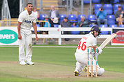 Chris Cooke batting against Ben Mike during the Specsavers County Champ Div 2 match between Glamorgan County Cricket Club and Leicestershire County Cricket Club at the SWALEC Stadium, Cardiff, United Kingdom on 16 September 2019.