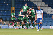 Scunthorpe United celebrate 0-1 during the EFL Sky Bet League 1 match between Bury and Scunthorpe United at the JD Stadium, Bury, England on 1 October 2016. Photo by Mark Pollitt.
