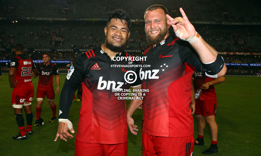 DURBAN, SOUTH AFRICA - MARCH 26:  Jordan Taufua of the BNZ Crusaders with Joe Moody of the BNZ Crusaders during the Super Rugby match between Cell C Sharks and BNZ Crusaders at Growthpoint Kings Park on March 26, 2016 in Durban, South Africa. (Photo by Steve Haag)<br /> <br /> images for social media must have consent from Steve Haag