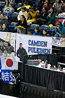 KELOWNA, BC - OCTOBER 26: Fans show support during the men's long program / free skate of Skate Canada International held at Prospera Place on October 26, 2019 in Kelowna, Canada. (Photo by Marissa Baecker/Shoot the Breeze)