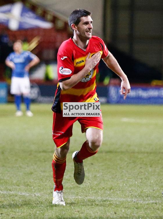 Partick Thistle v St.Johnstone in the Ladbrokes Premiership.... Kris Doolan (Partick Thistle) celebrates his goal ....(c) STEPHEN LAWSON | SportPix.org.uk