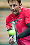 Lukasz Kubot of Poland while his training session two days before the BNP Paribas Davis Cup 2013 between Poland and South Africa at MOSiR Hall in Zielona Gora on April 03, 2013...Poland, Zielona Gora, April 03, 2013..Picture also available in RAW (NEF) or TIFF format on special request...For editorial use only. Any commercial or promotional use requires permission...Photo by © Adam Nurkiewicz / Mediasport