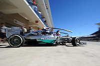 Nico Rosberg (GER) Mercedes AMG F1 W05 leaves the pits.<br /> United States Grand Prix, Friday 31st October 2014. Circuit of the Americas, Austin, Texas, USA.
