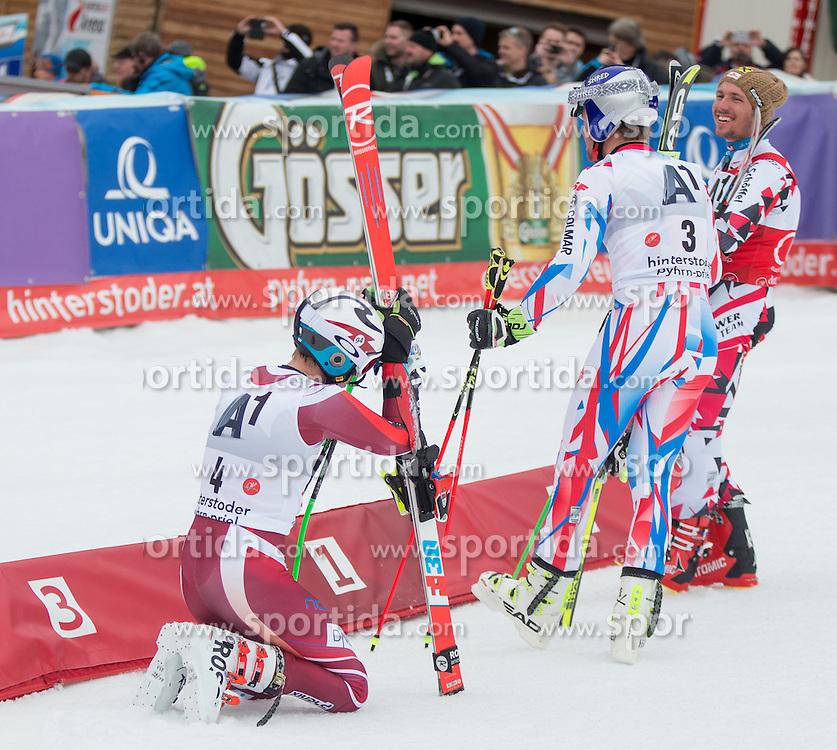 28.02.2016, Hannes Trinkl Rennstrecke, Hinterstoder, AUT, FIS Weltcup Ski Alpin, Hinterstoder, Riesenslalom, Herren, 2. Lauf, im Bild v.l. Henrik Kristoffersen (NOR, 3. Platz), Alexis Pinturault (FRA, 1. Platz), Marcel Hirscher (AUT, 2. Platz) // f.l.t.r. 3rd placed Henrik Kristoffersen of Norway winner Alexis Pinturault of France 2nd placed Marcel Hirscher of Austria reacts after his 2nd run of men's Giant Slalom of Hinterstoder FIS Ski Alpine World Cup at the Hannes Trinkl Rennstrecke in Hinterstoder, Austria on 2016/02/28. EXPA Pictures © 2016, PhotoCredit: EXPA/ Johann Groder