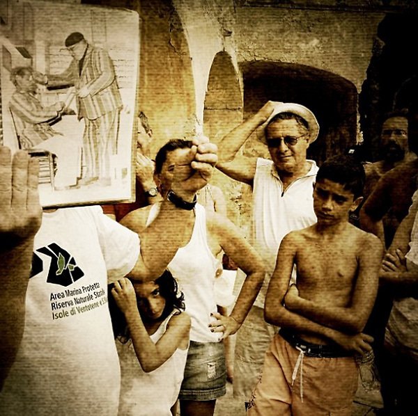 Ventotene 2012: tourists visiting Santo Stefano Island.