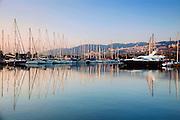 Israel, Haifa, The Kishon yacht Harbour at dawn