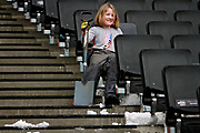 A young MK Dons fan taking a breather from clearing the snow before the EFL Sky Bet League 1 match between Milton Keynes Dons and Bristol Rovers at stadium:mk, Milton Keynes, England on 3 March 2018. Picture by Nigel Cole.
