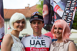 Tadej Pogacar (SLO) of UAE Team Emirates with TEM Catez hostesses after 5th Stage of 26th Tour of Slovenia 2019 cycling race between Trebnje and Novo mesto (167,5 km), on June 23, 2019 in Slovenia. Photo by Matic Klansek Velej / Sportida