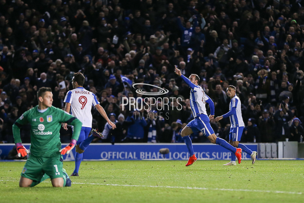 Brighton & Hove Albion centre forward Glenn Murray (17) celebrates his goal 1-1 during the EFL Sky Bet Championship match between Brighton and Hove Albion and Aston Villa at the American Express Community Stadium, Brighton and Hove, England on 18 November 2016. Photo by Phil Duncan.