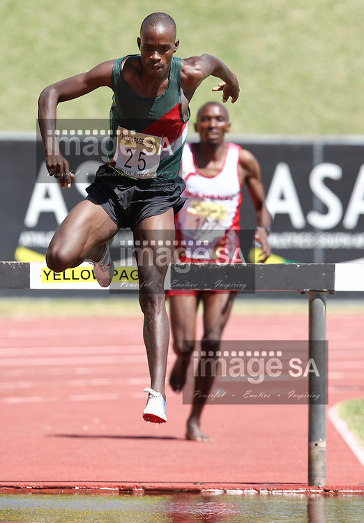 BELLVILLE, SOUTH AFRICA, Saturday 3 March 2012, Edwin Molepo hurdles the water jump in the mens 3000m steeple chase which he won in 8:53.03 during the Yellow Pages Interprovincial held at Bellville Stadium stadium, outside Cape Town..Photo by ImageSA/ASA