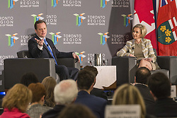 May 1, 2019 - Toronto, ON, Canada - TORONTO, ON - MAY 1  -  Jeff Yurek left, Minister of Transportation, with Janet De Silva, President & CEO, Toronto Region Board of Trade, at the Westin Harbour Castle in Toronto, May 1, 2019. The Ontario PC government will introduce legislation Thursday to upload responsibility for future Toronto transit projects to the province, despite having reached no agreement with the city in ongoing talks about sharing responsibility for new lines. Andrew Francis Wallace/Toronto Star (Credit Image: © Andrew Francis Wallace/The Toronto Star via ZUMA Wire)
