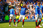 James Tavernier (C) of Rangers FC celebrates his early goal during the Ladbrokes Scottish Premiership match between Rangers and Celtic at Ibrox, Glasgow, Scotland on 12 May 2019.