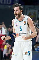 Real Madrid Rudy Fernandez celebrating the victory during Turkish Airlines Euroleague match between Real Madrid and Baskonia Vitoria at Wizink Center in Madrid, Spain. January 17, 2018. (ALTERPHOTOS/Borja B.Hojas)
