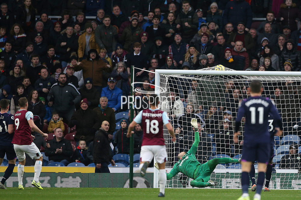 Burnley forward Chris Wood (9) scores a goal 2-0 during the Premier League match between Burnley and West Ham United at Turf Moor, Burnley, England on 9 November 2019.