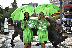 August 17, 2017 - Istanbul, Turkey - A group of PETA  (People for the Ethical Treatment of Animals) activists, stand during an event promoting a vegan lifestyle in Istanbul. (Credit Image: © Depo Photos via ZUMA Wire)