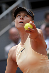 May 7, 2018 - Madrid, Spain - Maria Sharapova against Irina-Camelia Begu during day three of the Mutua Madrid Open tennis tournament at the Caja Magica on May 7, 2018 in Madrid, Spain. (Credit Image: © Oscar Gonzalez/NurPhoto via ZUMA Press)