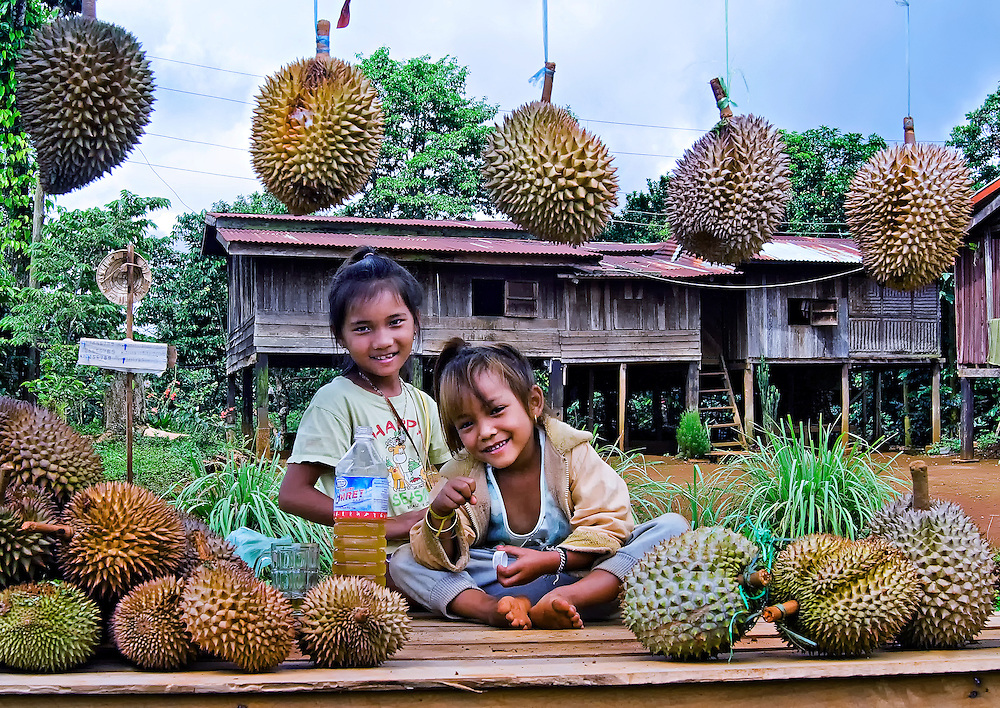 Children selling Durian fruit outside their home on the Bolaven plataeu, Laos.
