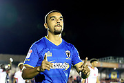 AFC Wimbledon striker Kweshi Appiah (9) making gesture with hands during the EFL Sky Bet League 1 match between AFC Wimbledon and Milton Keynes Dons at the Cherry Red Records Stadium, Kingston, England on 22 September 2017. Photo by Matthew Redman.