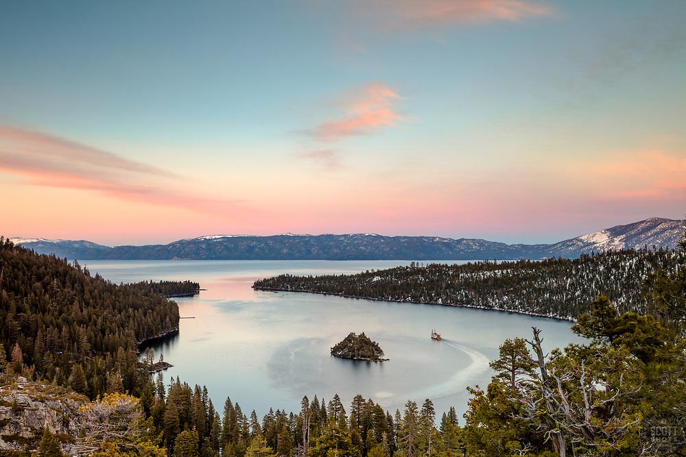 """""""Emerald Bay Sunset 2"""" - Photograph of Emerald Bay, Lake Tahoe taken at sunset."""