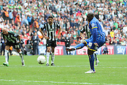 Bayo Akinfenwa forward for AFC Wimbledon (10) scores from the penalty spot to make it 2-0 during the Sky Bet League 2 play off final match between AFC Wimbledon and Plymouth Argyle at Wembley Stadium, London, England on 30 May 2016. Photo by Stuart Butcher.