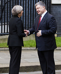 London, April 19th 2017. British Prime Minister Theresa May welcomes Ukrainian President Petro Poroshenko to 10 Downing Street as he urges the west to maintain sanctions against Russia