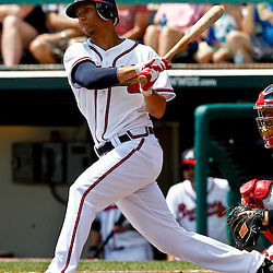 March 19, 2012; Lake Buena Vista, FL, USA; Atlanta Braves shortstop Andrelton Simmons (67) against the St. Louis Cardinals during a spring training game at Disney Wide World of Sports complex. Mandatory Credit: Derick E. Hingle-US PRESSWIRE