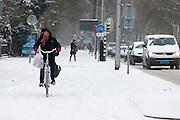 Een fietser rijdt door de sneeuw.<br /> <br /> A cyclist is riding in the snow