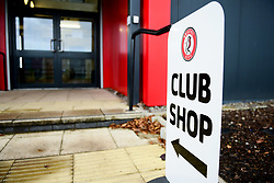 Club Shop signage at Stoke Gifford Stadium - Mandatory by-line: Ryan Hiscott/JMP - 08/12/2019 - FOOTBALL - Stoke Gifford Stadium - Bristol, England - Bristol City Women v Birmingham City Women - Barclays FA Women's Super League