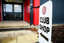 Club Shop signage at Stoke Gifford Stadium - Mandatory by-line: Ryan Hiscott/JMP - 08/12/2019 - FOOTBALL - Stoke Gifford Stadium - Bristol, England - Bristol City Women v Birmingham City Women - Barclays FA Women's Super League
