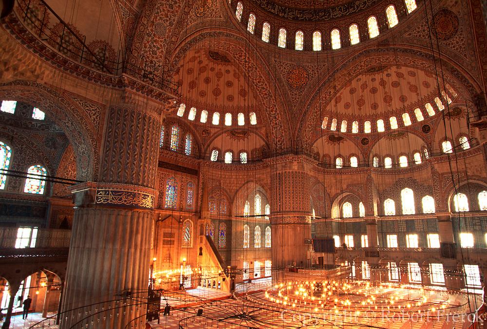 TURKEY, ISTANBUL, OTTOMAN Blue Mosque; the prayer hall