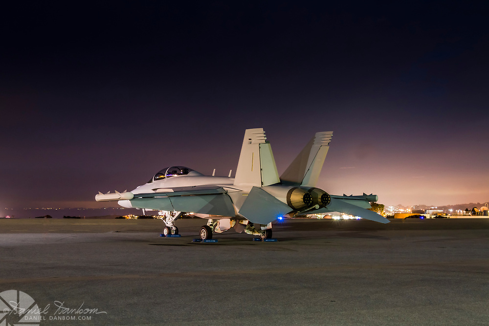 F-18 parked on the ramp, overnight, at MRY, California