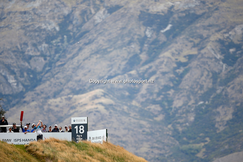 Matthew Griffin winner of the 2016 BMW ISPS Handa New Zealand Open, The Hills, Arrowtown, New Zealand.13 March 2016. Photo by Michael Thomas/www.photosport.nz