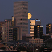 The harvest moon rises behind the buildings of Denver at dusk.