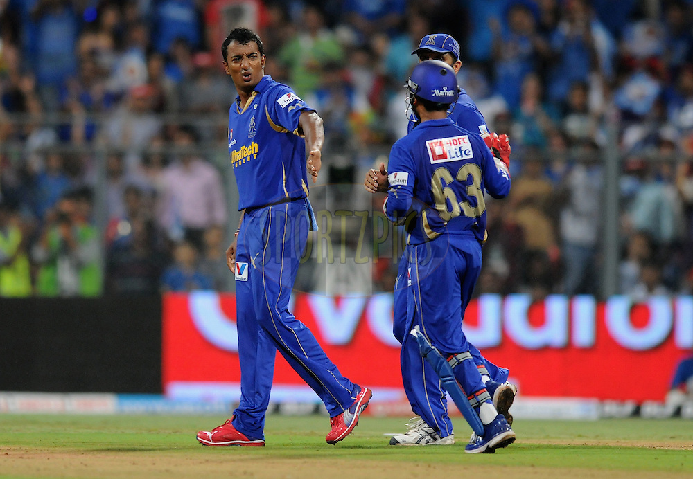 Ankeet Chavan of Rajasthan Royals celebrates the wicket of Kieron Pollard of Mumbai Indians during match 12 of  the Indian Premier League ( IPL) 2012  between The Mumbai Indians and the Rajasthan Royals held at the Wankhede Stadium in Mumbai on the 11th April 2012..Photo by Pal Pillai/IPL/SPORTZPICS