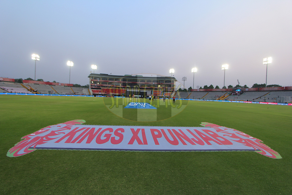 Kings XI Punjab logo  during match 36 of the Vivo Indian Premier League ( IPL ) 2016 between the Kings XI Punjab and the Delhi Daredevils held at the IS Bindra Stadium, Mohali, India on the 7th May 2016<br /> <br /> Photo by Arjun Singh / IPL/ SPORTZPICS