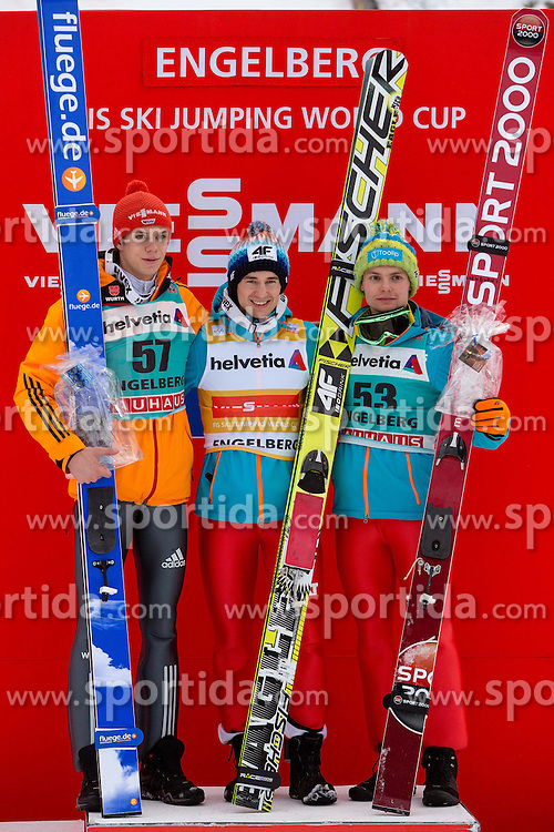 22.12.2013, Gross Titlis Schanze, Engelberg, SUI, FIS Weltcup Ski Sprung, Engelberg, Herren, im Bild v l Andreas Wellinger (GER), Kamil Stoch, Jan Ziobro (POL) // during mens FIS Ski Jumping world cup at the Gross Titlis Schanze in Engelberg, Switzerland on 2013/12/22. EXPA Pictures &copy; 2013, PhotoCredit: EXPA/ Eibner-Pressefoto/ Socher<br /> <br /> *****ATTENTION - OUT of GER*****
