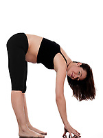 pregnant caucasian woman stretch workout isolated studio on white background