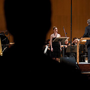 """June 8, 2012 - New York, NY : Conductor David Robertson, standing at right, leads the New York Philharmonic and soprano Charlotte Dobbs, standing at center, in the U.S. premiere of Michael Jarrell's 'NACHLESE Vb: Liederzyklus' (2011) during The Metropolitan Museum of Art's Presentation of """"CONTACT!,"""" the new-music series of the New York Philharmonic, on Friday night. CREDIT: Karsten Moran for The New York Times"""