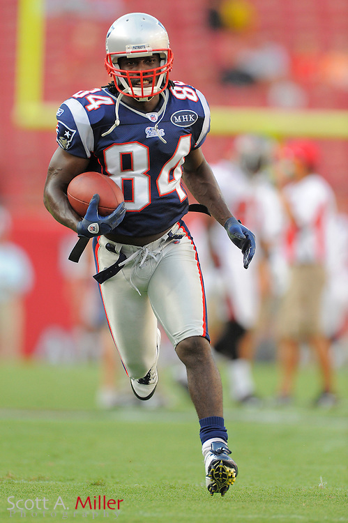 New England Patriots wide receiver Deion Branch (84) prior to the Pats game against the Tampa Bay Buccaneers at Raymond James Stadium on Aug. 18, 2011 in Tampa, Fla...©2011 Scott A. Miller