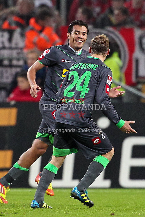 25.11.2011, Rhein Energie Stadion, Koeln, GER, 1.FBL, 1. FC Koeln vs Borussia Moenchengladbach, im BildTorjubel/ Jubel Juan Arango (Mönchengladbach #18) nach dem 0:2 mit Tony Jantschke (Mönchengladbach #24) // during the 1.FBL, 1. FC Koeln vs Borussia Moenchengladbach on 2011/11/25, Rhein-Energie Stadion, Köln, Germany. EXPA Pictures © 2011, PhotoCredit: EXPA/ nph/ Mueller *** Local Caption ***..***** ATTENTION - OUT OF GER, CRO *****
