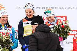 February 24, 2019 - Seefeld In Tirol, AUSTRIA - 190224 Gunde Svan, distributor of prizes, Stina Nilsson and Maja Dahlqvist of Sweden at the podium after in women's team sprint final during the FIS Nordic World Ski Championships on February 24, 2019 in Seefeld in Tirol..Photo: Joel Marklund / BILDBYRN / kod JM / 87888 (Credit Image: © Joel Marklund/Bildbyran via ZUMA Press)