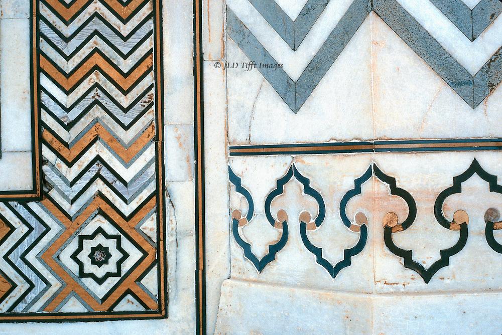 Detail of geometric pietra dura ornament on a wall of the Taj Mahal..