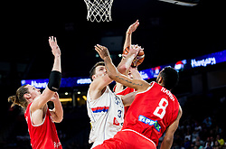 Adam Hanga of Hungary vs Ognjen Kuzmic of Serbia during basketball match between National Teams of Serbia and Hungary at Day 11 in Round of 16 of the FIBA EuroBasket 2017 at Sinan Erdem Dome in Istanbul, Turkey on September 10, 2017. Photo by Vid Ponikvar / Sportida
