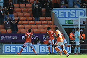 Blackpool Forward, Nathan Delfouneso (7) scores 1-0 goal celebration  during the EFL Sky Bet League 1 match between Blackpool and Accrington Stanley at Bloomfield Road, Blackpool, England on 25 August 2018.