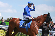 Jockey Harry Bentley on Hit List in the Parade Ring before the 2.20 race at Brighton Racecourse, Brighton & Hove, United Kingdom on 10 June 2015. Photo by Bennett Dean.