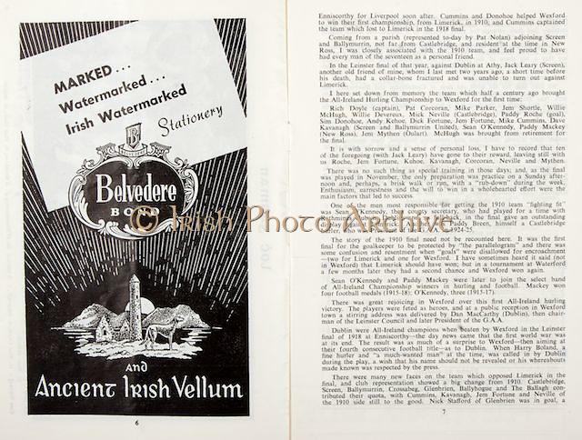 All Ireland Senior Hurling Championship Final,.04.09.1960, 09.04.1960, 4th September 1960,.Minor Tipperary v Kilkenny, .Senior Wexford v Tipperary, Wexford 2-15 Tipperary 0-11,..Belvedere Bond, Ancient Irish Vellum,
